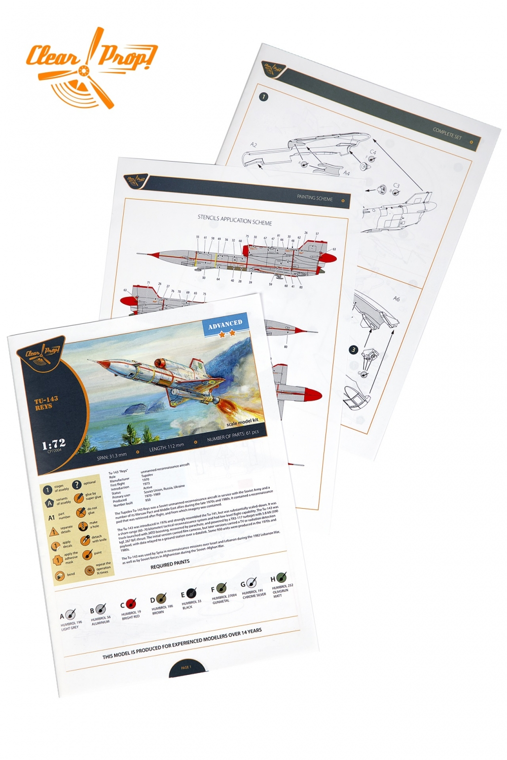 Clear Prop Models 1//72 TUPOLEV Tu-143 REYS Soviet Unmanned Recon Aircraft