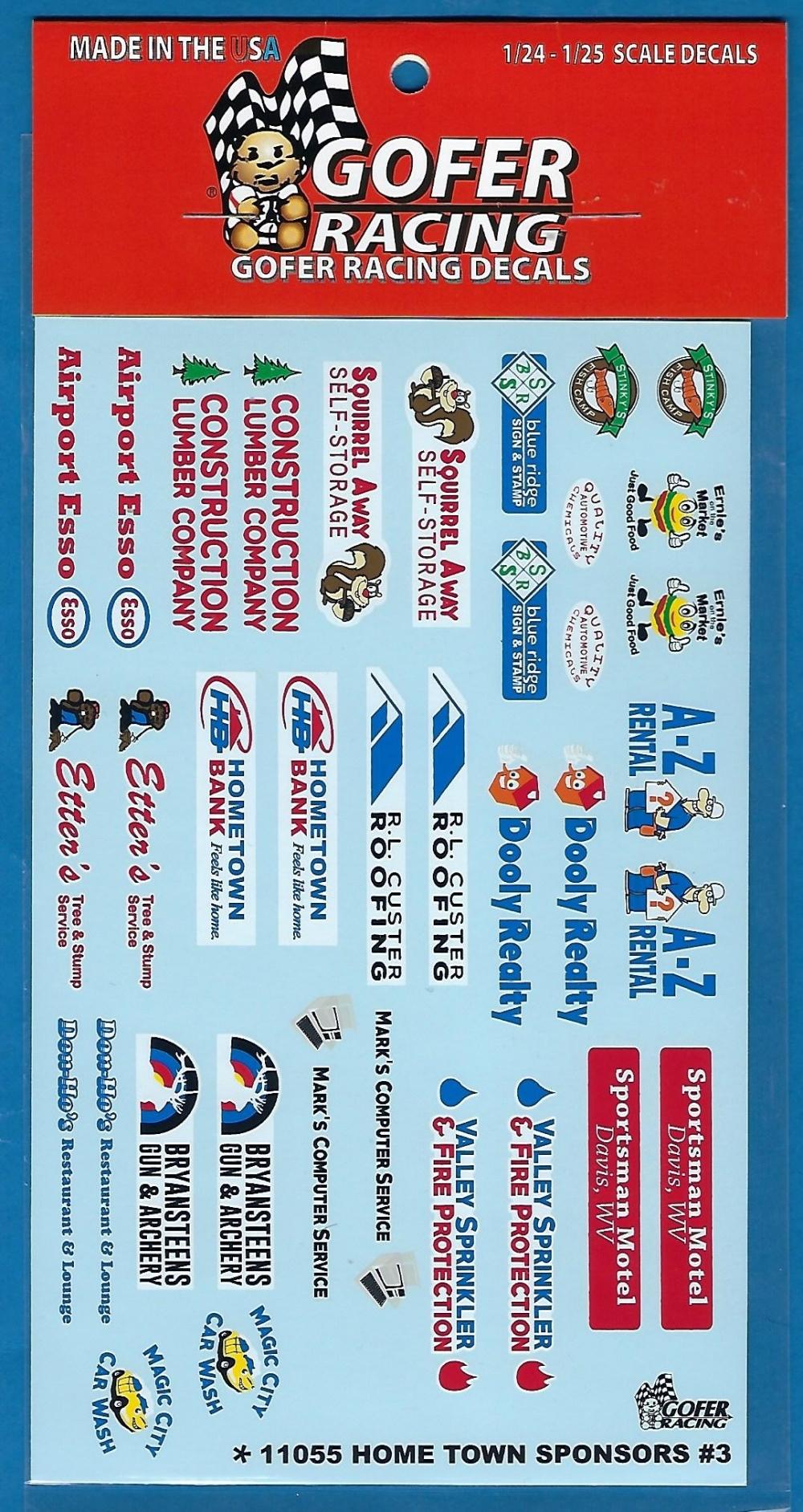 GOFER Racing Decals 11055 Hometown Sponsors # 3 Decals Sheet for 1//24-1//25 Scale